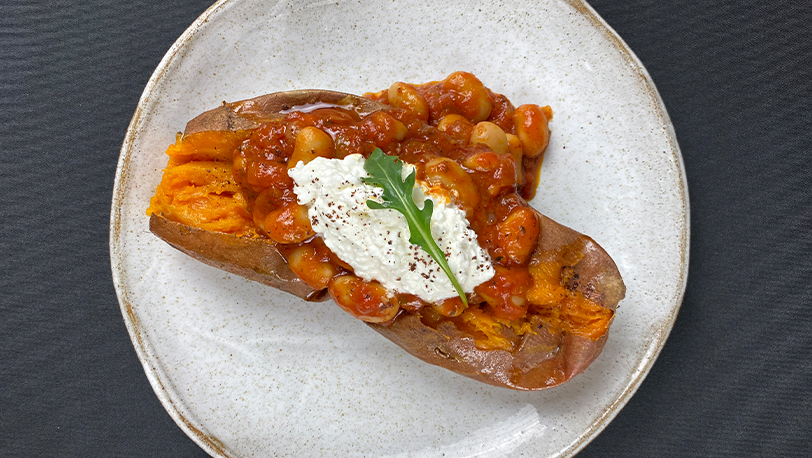 Baked Sweet Potato, Homemade Baked Beans & Cottage Cheese