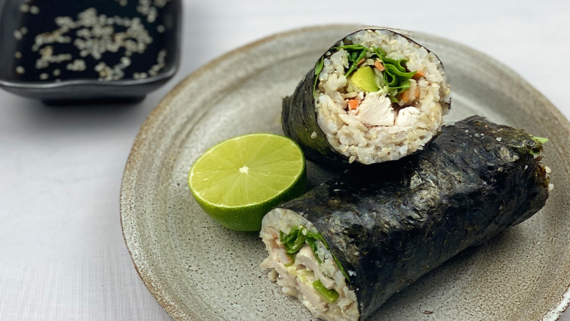 Brown Rice Avacado and Shredded Chicken Sushi Rolls