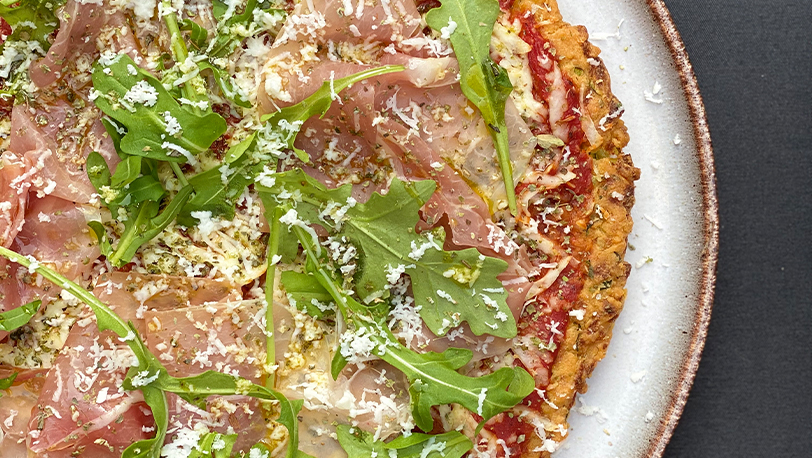 Cauliflower Base Pizza Parma Ham and Spinach