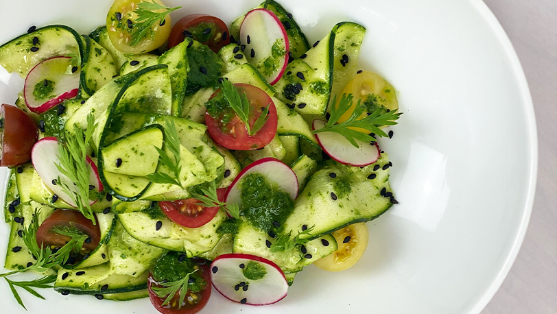 Courgette Ribbons Cherry Tomatoes and Herb Dressing