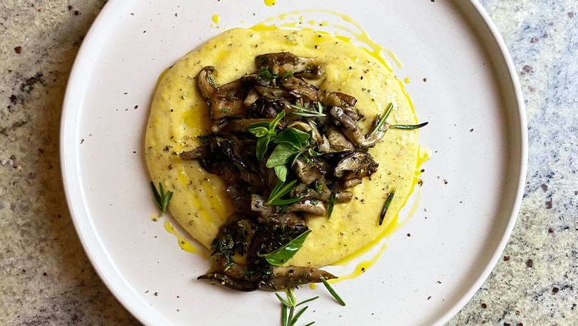 Creamy Polenta and Garlic Wild Mushrooms