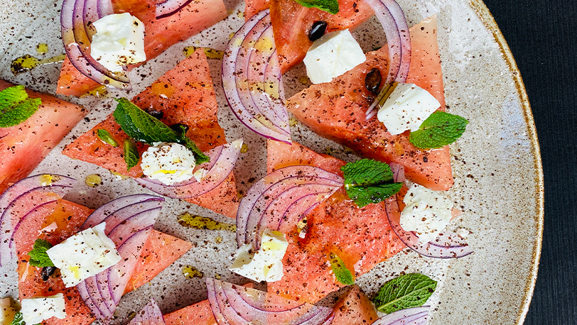 Grilled Watermelon Feta and Mint