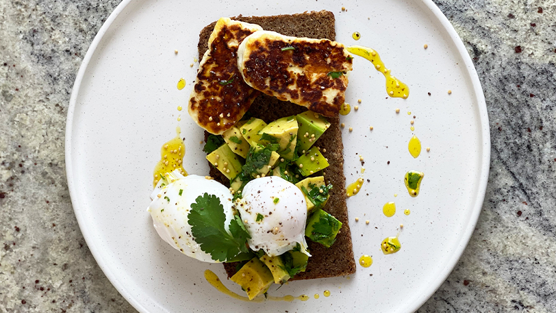 Poached Eggs Avocado and Halloumi