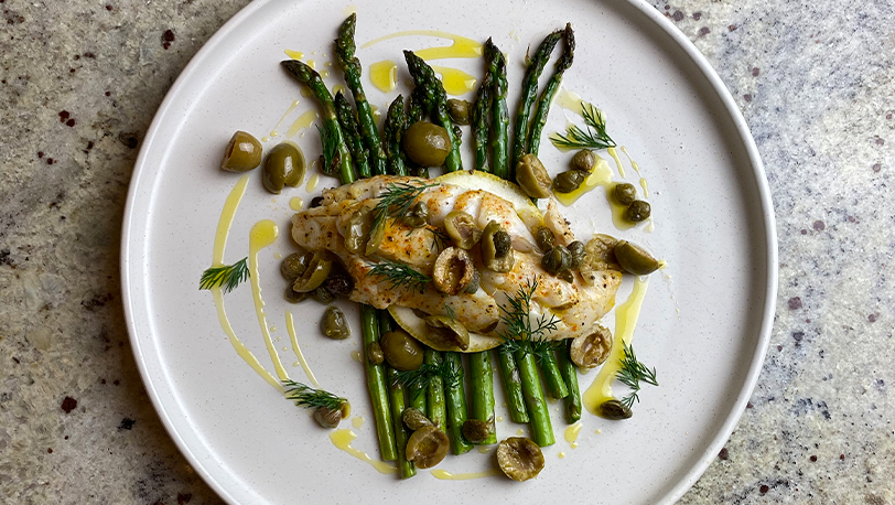 Tray Roasted Cod, Olive and Capers