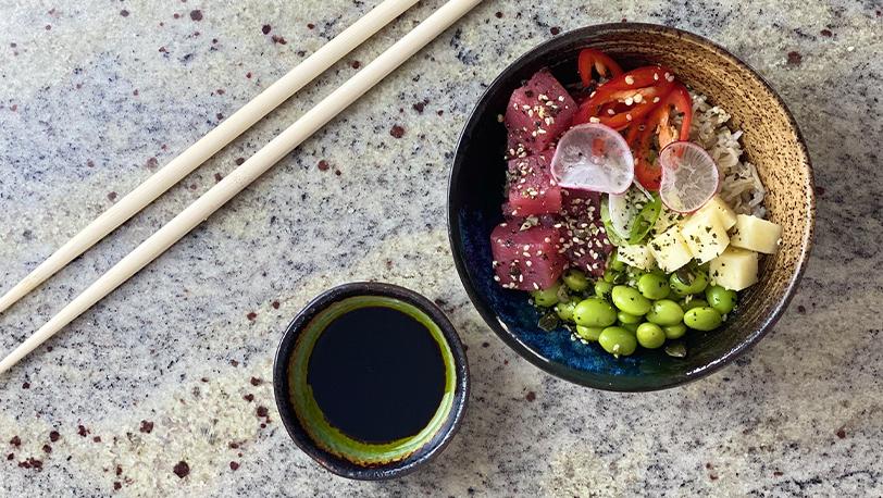 Tuna Poke Bowl, Edamame Beans, Furikake